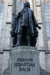 Statue of Bach with his name on the plinth