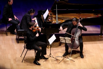 piano trio, a violinist, cellist and pianist