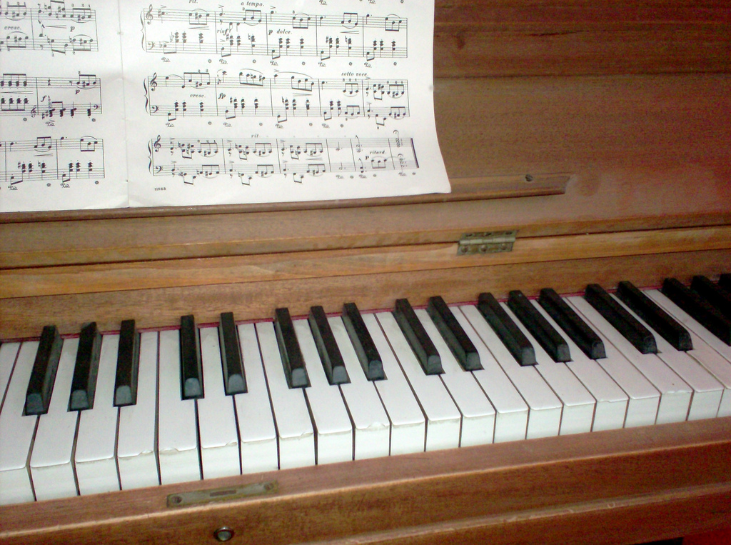 piano with sheet music on it