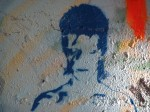 David Bowie's face as street art