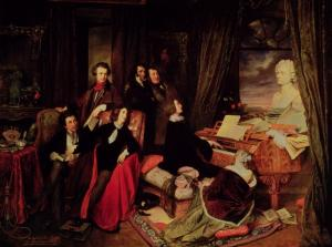 painting, Liszt at the piano surrounded by admirers