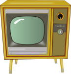 retro television set with legs