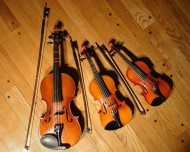 3 violins of different sizes