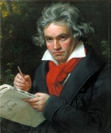 painting of beethoven with music score