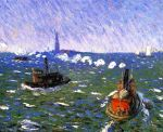 two tug boats at sea painting